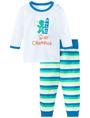Schiesser Baby-Jungen Anzug 2-teilig Zweiteiliger Schlafanzug, Weiß (Weiss 100), 56