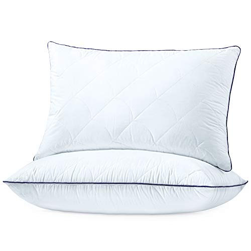 """Sable Pillows for Sleeping, 2 Pack Hotel Collection Bed Pillows, FDA Registered, 100% Cotton Pillowcase, Adjustable Height, Machine Washable Pillows for Neck Pain, Side or Back Sleeper, Queen, 30'×20"""""""