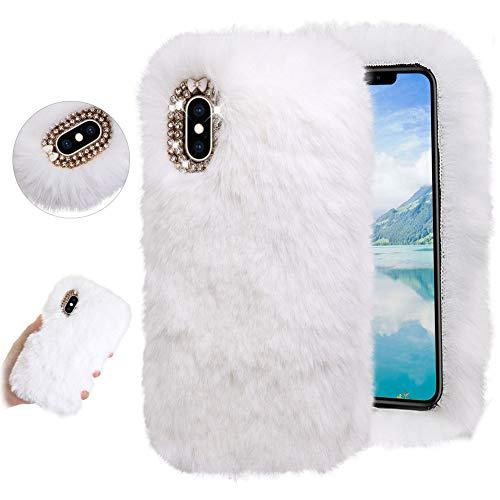 Kaninchen Plüsch Hülle für Samsung Galaxy Note 20 Ultra 5G,DasKAn Handgefertigt Winter Warm Weich Hase Flauschig Fell Handy Tasche Kristall Diamant Strass Design Stoßfest Silikon Schutzhülle,Weiß