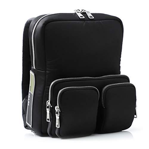 Prada Rucksack für Herren aus schwarzem Stoff mit Reißverschlüssen, Größe M, Mod. 2VZ043 2DA3 F0002, Schwarz - Schwarz - Größe: Medium