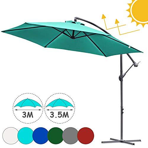 Hengda Sonnenschirm Alu Ampelschirm Ø 350cm Himmelblau Gartenschirm mit Ständer, höhenverstellbar, klappbar, UV-Schutz 40+ Diverse Farben Wasserabweisende Marktschirm