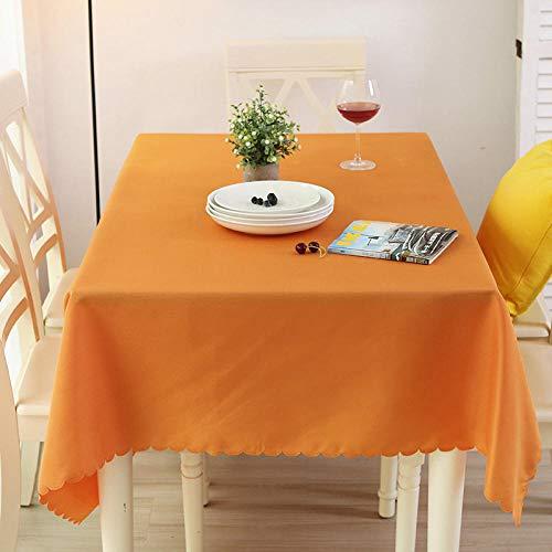 AdorabTable Tischdecken Tischdecke Tischtuch Tablecloths Rechteckig Tischdecke Solide Polyester Spitze Gehobene Konferenz Restaurant Hotel Esstisch Decken Orange 120X140CM