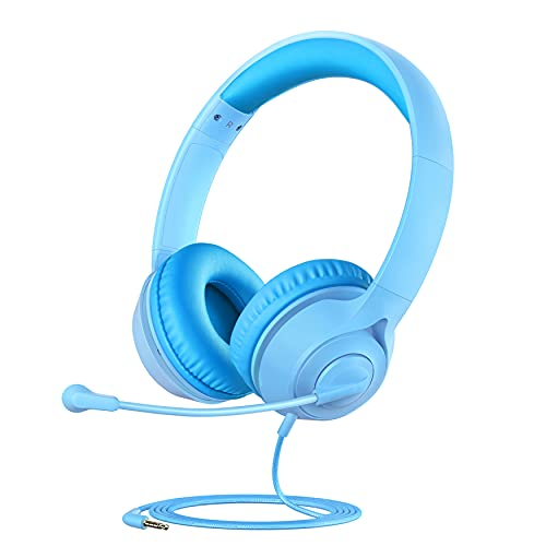 Kids Headphones with Microphone for Boys Girls, Kids Online Learning Headset with 94dB Volume Limit, Stereo Sound, 3.5mm Audio Jack for Smartphone, Tablet, PC, School, Travel (Blue)