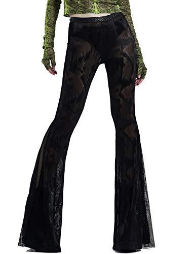 Punk Rave Pantalones ajustados negros con textura de pitón para mujer, estilo gótico, acampanados, estilo retro, para fiestas