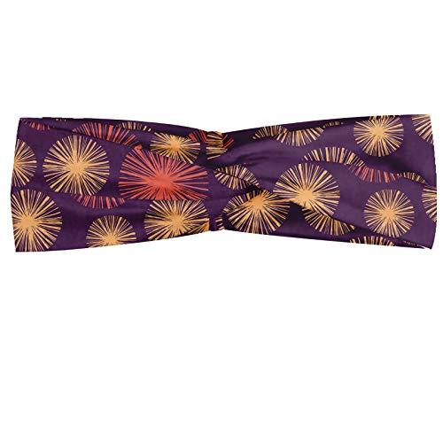 ABAKUHAUS - Pañuelo para el cuello (imitación de piel de pastel, estampado a mano, estampado de círculos sobre fondo púrpura, elástico y cómodo, para el día a día), color beige y lila