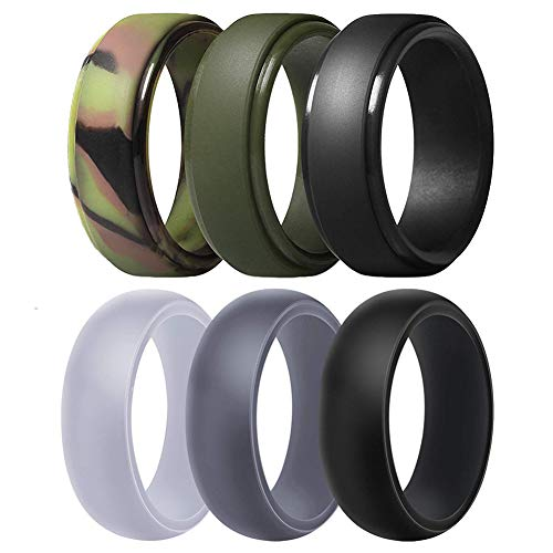Silicone Wedding Ring for Men, Breathable Rubber Wedding Band for Workout,Crossfit,Fishing,Hunting-8.7mm Wide(Camo,Dark Green, White Gr (Camo,Dark Green, White Grey, Dark Grey, Black, Size 11-20.6mm)
