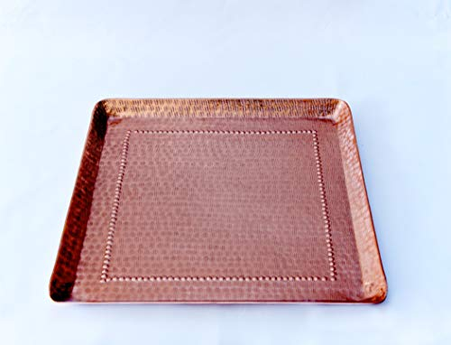 """Copper Serving Platter Tray, 17"""" x 17"""" - Decorative Trays Home Decor - Handmade Square Platters - Premium Kitchenware and Kitchen Accessories for Entertaining"""