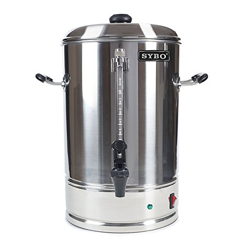 SYBO Commercial Grade Stainless Steel 10 Liters 70 Cups Coffee Maker and Hot Water Heater Urn Pot for Catering and Restaurants