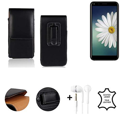 K-S-Trade® Leder Gürtel Tasche + Kopfhörer Für Doogee X53 Seitentasche Belt Pouch Holster Handy-Hülle Gürteltasche Schutz-Hülle Etui Schwarz 1x