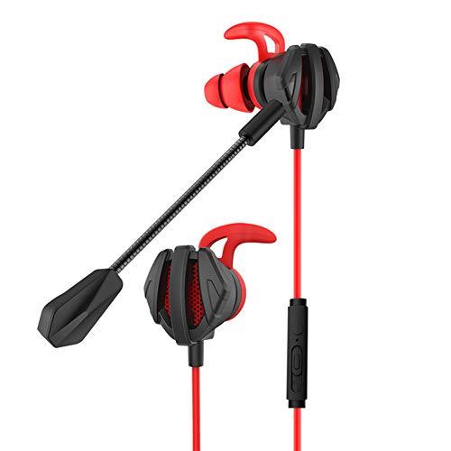 Auriculares in-Ear Gaming, Auricular in-Ear con Cable y microfono, Gaming Multiplataforma, Gaming para ps4, PC, Xbox, pubg, Doble Micrófono, Profesional Auriculares Gaming de 3,5 mm (Rojo)