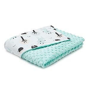Manta para bebé EliMeli Minky, manta para cochecito de bebé, manta para gatear, hecha de tela muy suave y algodón, ideal como regalo para el verano y la primavera Turquesa - Ciervo