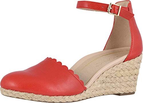 Vionic Women's Aruba Anna Wedges - Espadrille Sandals with Concealed Orthotic Arch Support Cherry 7 M US