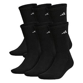 adidas Men s Athletic Cushioned Crew Socks  6-Pair  Black/Aluminum 2 Large
