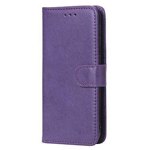 WIWJ Hülle für Samsung Galaxy A20E Tasche Flip Lila - Rein Farbe Ledertasche Wallet Case mit Kartenhalter Abnehmbar Magnet Backcover Detachable Schutzhülle für Samsung Galaxy A20E Handyhülle