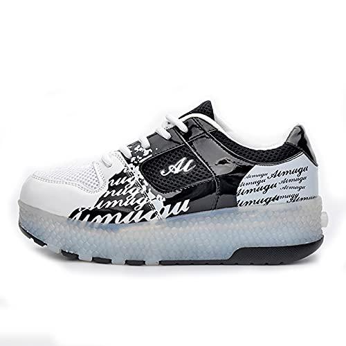 AMYMGLL Patines de ruedas suaves y transpirables con luces LED de doble rueda, zapatos deportivos recargables para niños, color negro 38