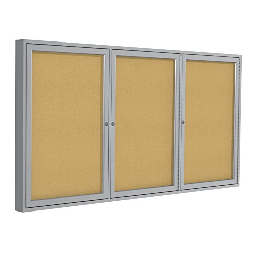 """Ghent 48""""x72"""" 3-Door indoor Enclosed Bulletin Board , Shatter Resistant, with Lock, Satin Aluminum Frame Natural Cork (PA34872K) Made in the USA"""