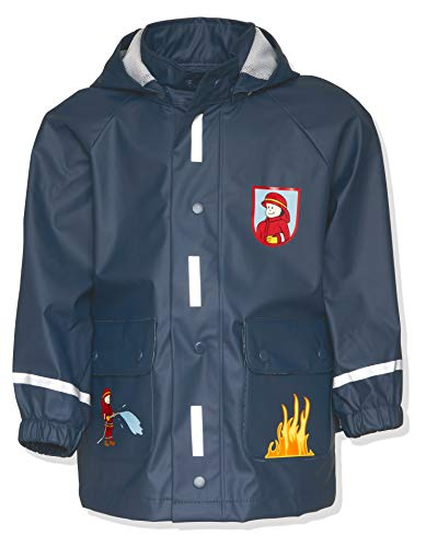 Playshoes Jungen Regen-Mantel Feuerwehr Regenmantel, Blau (original), 98