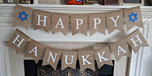 Happy Hanukkah Banner Chanukah Decorations - Judaica Burlap Party Garland Bunting - Ready to Hang Party Decoration - Festive Decor Photo Prop Backdrop by Jolly Jon®
