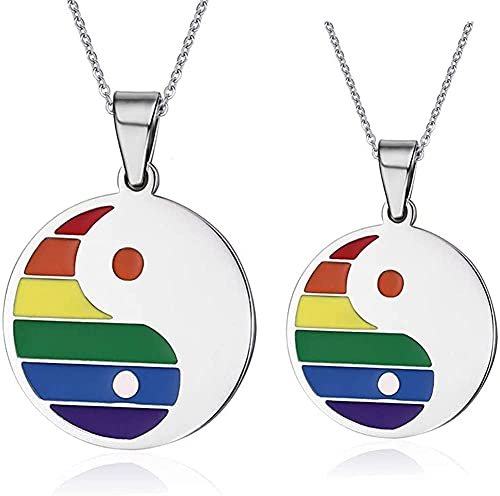 AMOZ Nj 2 Paquetes de Collar de Orgullo Gay de Acero Inoxidable Yin Yang Bagua Parejas Colgante Aniversario de Compromiso de Boda Gay Lesbianas Lgbt Rainbow Pride Collares Pendientes para Amante, Bff