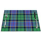 DearLord Manteles individuales de mesa, resistentes al calor, lavables y de PVC, juego de 4 manteles individuales de vinilo tejido de tartán