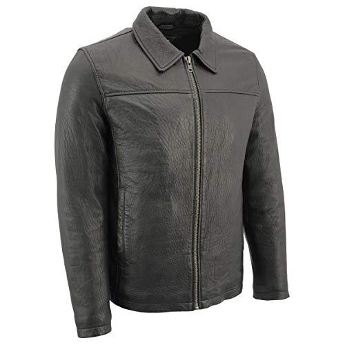 Milwaukee Leather SFM1875 Nueva Zelanda piel de cordero para hombre con cuello estilo camisa, Hombre, Chaqueta, SFM1875-BLACK-L, negro, L