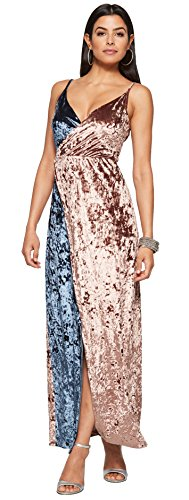 Bestfort Kleid Damen Lang Elegante Zweifarbig Brautkleider Festliche Kleider Schöne Abendkleider Ärmellos Schlinge Rückenfreies Samt Lose Lange Kleider Frühling Schlafkleid