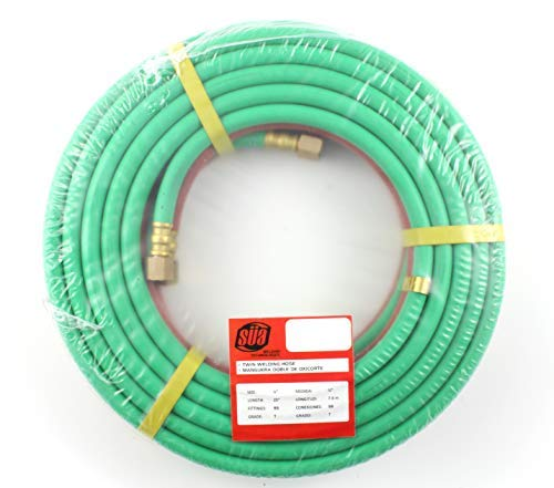 "25 FEET Grade""T"" - 1/4"" OxyFuel Welding & Cutting Twin Hose with BB Fittings - SÜA"