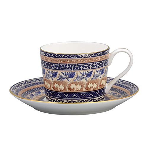 FEIYIYANG Tazas Classic Retro diseño británico té té té Hueso de China Taza de café y platillo Ligero Lujo Taza Tradicional Taza de té Mejor Conjunto de té colector 100ml Taza (Color : Yellow)