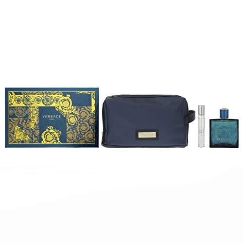 Versace Eros For Men 3 Pieces Hardbox Set (3.4 Ounce Spray+ 0.3 Ounce Spray +Versace Blue Trousse)