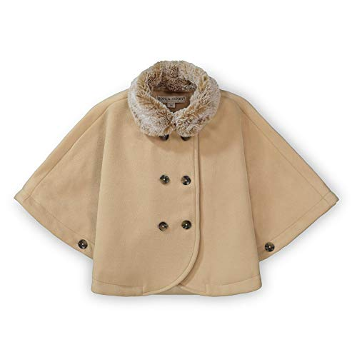 Hope & Henry Girls' Button Front Cape with Faux Fur Collar Tan