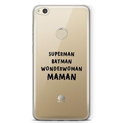 ZOKKO Coque Huawei P9 Lite 2017 Superman Batman Wonderwoman Maman - Souple Transparente Encre Blanc
