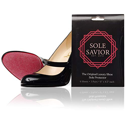 Christian Louboutin Sole Protector (3 PAIR!) for Red Bottom Heels- Shoe Sole Protector for Heels Louboutin or Men's Shoes- High Heel Protectors- Clear Non Slip 3m- Large size, 6in x 4.5in.