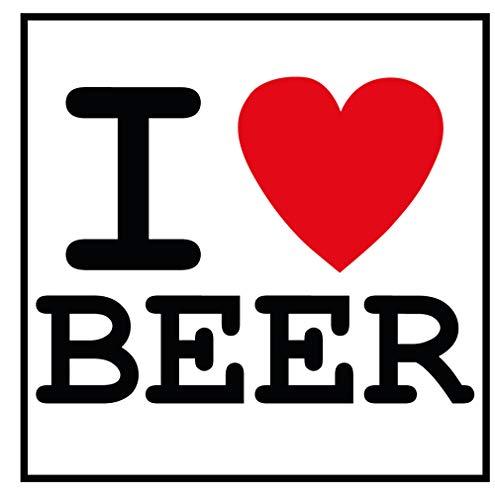 Aufkleber I Love Beer Sticker Bier Männer Kaltgetränk Brauerei Hopfen Malz