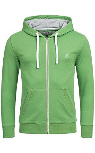 Banqert Herren Hoody, Faire Löhne, Purified Cotton, Männer Hoodie-s Kapuzenjacke-n Kapuzen-Sweater mit Reissverschluss Men, Grün Green XL X-Large