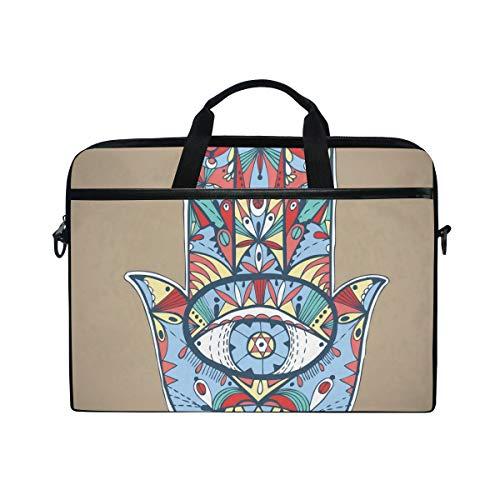 EZIOLY Boho Hamsa Laptop Shoulder Messenger Bag Case Sleeve for 13 Inch to 14 inch Laptop