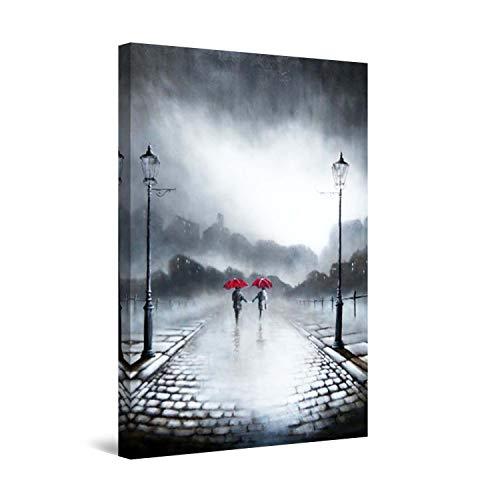 Startonight Leinwandbilder Schwarz und Weiß Zwei rote Regenschirme, Doppelansicht Überraschung Modernes Dekor Kunstwerk Gerahmte Wand Kunst 100% Ursprüngliche Fertig zum Aufhängen 60 x 90 CM