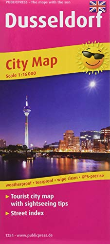 Dusseldorf: Tourist city map with sightseeing tips and street Index. 1:16000