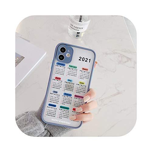 Carcasa para iPhone 12, diseño de calendario 2021 para iPhone 12 Pro Max 11 Pro Se20 XR XS Max X 6 7 8 Plus, antigolpes, dureza 3 para iPhone XS Max