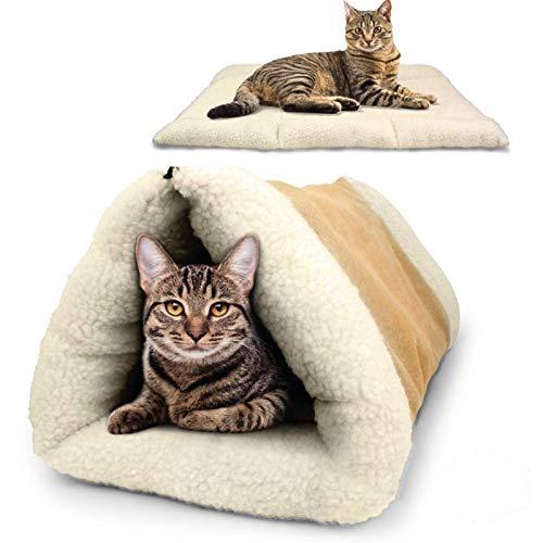 QWET Alfombrilla para Mascotas 2 En 1, Cama De TúNel para Mascotas Plegable De Piel De Cachemira, Utilizada para Gatos, Perros Y Gatitos Que Viajan O En Casa,L