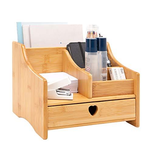 BMAOOB Organizador de escritorio y accesorios, organizadores de escritorio de oficina de almacenamiento con cajones, 5 compartimentos organizadores de espacio de trabajo para mujeres, aprendiz