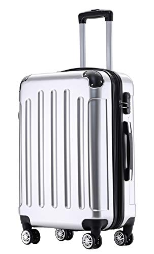 BEIBYE Zwillingsrollen 2048 Hartschale Trolley Koffer Reisekoffer Taschen Gepäck in M-L-XL-Set (Silber, M)