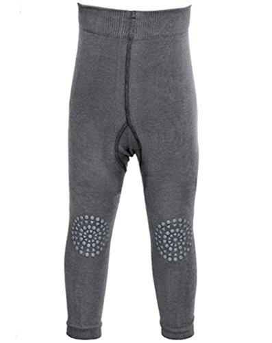 GoBabyGo Baby Leggings mit ABS Noppen an Knien (74/80, Dunkelgrau) - Kleinkinder Krabbel Leggins, Produziert in Europa | Mädchen, Junge 6-12 Monate