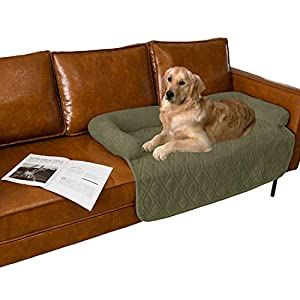 Ameritex Pet Dog Bed Coral Fleece Furniture Cover with Anti-Slip Back Suitable for Bed and Sofa Super Soft (Large-46 x30, Green)