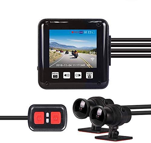 VSYSTO Motorrad Dashcam Motorrad Kamera 1080p Doppelobjektiv 150° Weitwinkel Vorne und Hinten wasserdichte Sportkamera Motorrad Camcorder 2'' LCD Bildschirm mit Nachtsichtfunktion G-Sensor