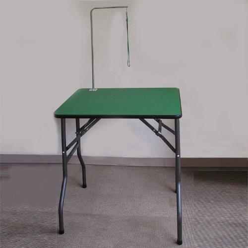 トリミングテーブル ミニアーム付セット [W600×D450×H750] 日本製 (グリーンマットに脚部はガンダメ)