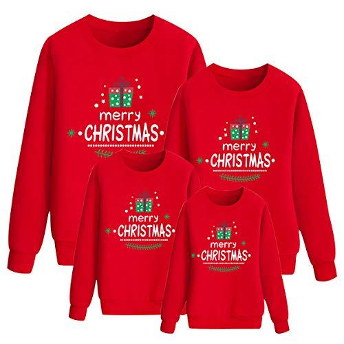 N \ A Weihnachtspullover Familie Set Weihnachts Familien Pullover Weihnachten Familie Pulli Weihnachten Weihnachtspullis Kinder Junge Mädchen Weihnacht Sweatshirt Hässlicher Weihnachtspulli Rot 110