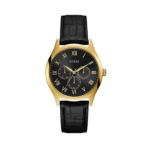 Guess Herren Analog Quarz Uhr mit Leder Armband W1130G3