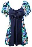 Ecupper Vestido de baño para mujer con pantalones cortos de una pieza, traje de baño de manga corta, estampado de flores, tallas verde 42
