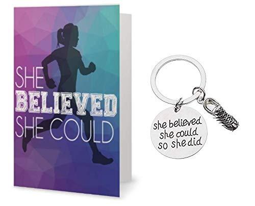 Runner Keychain & Card Gift Set, Runner She Believed She Could So She Did Keychain, Runner Gift