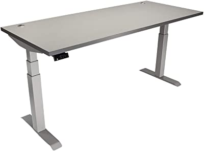 """Lift It Extended Range Height Adjustable Work Station, 72"""" x 30"""" with Brushed Silver Frame-Sarum Twill Top"""